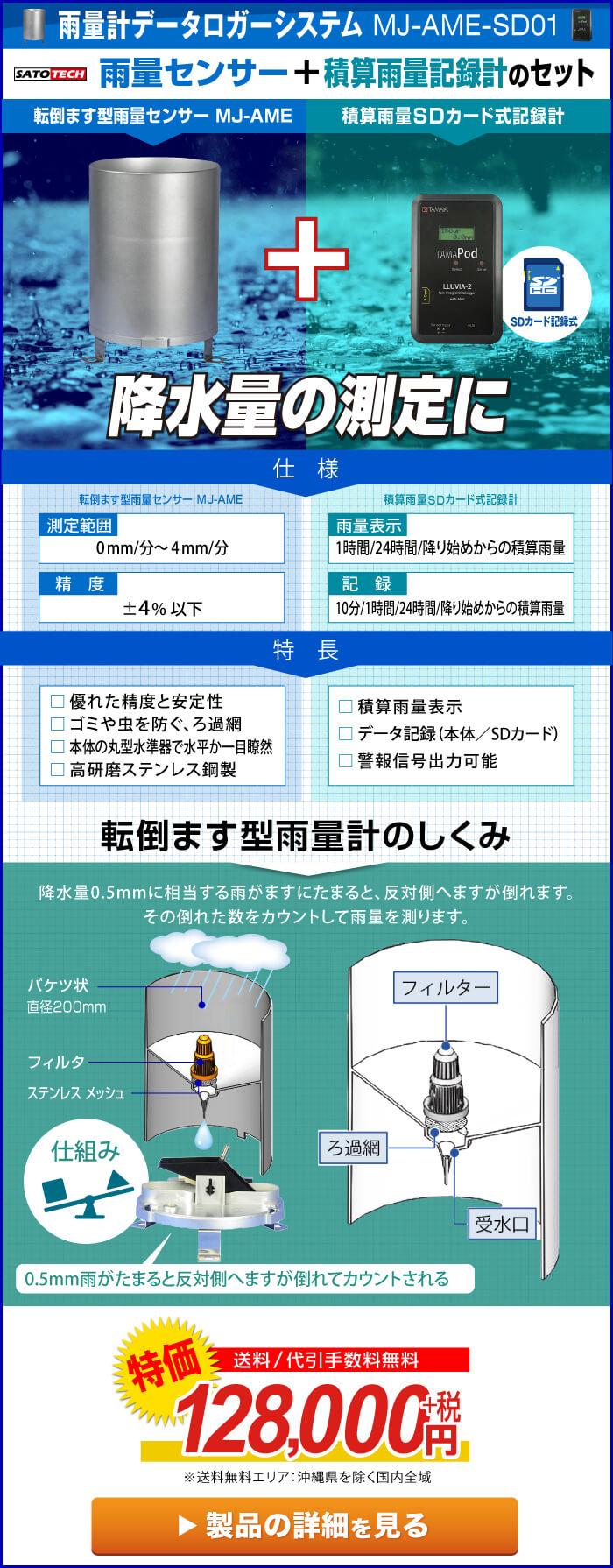 雨量計データロガーシステム MJ-AME-SD01